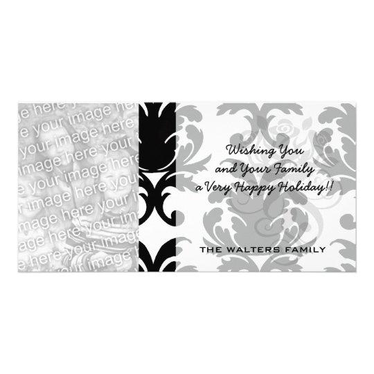 elegant black and white damask card