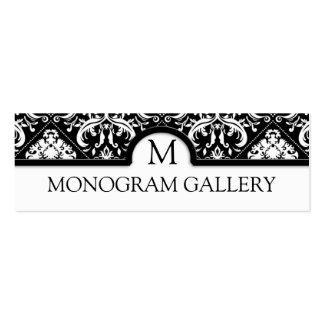Elegant Black and White Damask Interior Decorator Double-Sided Mini Business Cards (Pack Of 20)