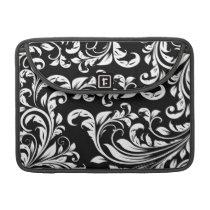 Elegant Black and White Damask Macbook Pro Sleeve