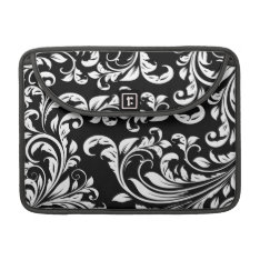 Elegant Black And White Damask Macbook Pro Sleeve at Zazzle