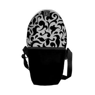 Elegant Black And White Damask Messenger Bag