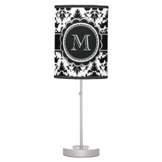 Elegant Black and White Damask Monogram Lamps