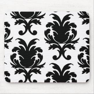 elegant black and white damask mouse pad
