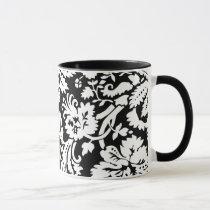 Elegant black and white damask mug