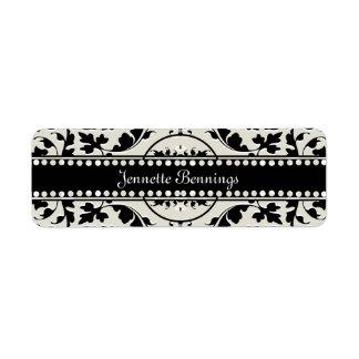 Elegant Black and White Damask Name Labels