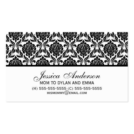 Elegant Black and White Damask Pattern Double-Sided Standard Business Cards (Pack Of 100)