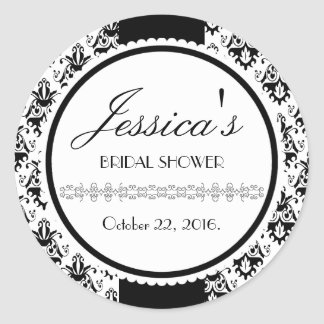 Elegant Black and White Damask Pattern Classic Round Sticker