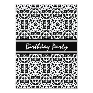 Elegant Black and White Damask Pattern 5.5x7.5 Paper Invitation Card