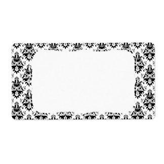 Elegant Black and White Damask Pattern Label