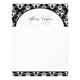 Elegant Black and White Damask Pattern Letterhead