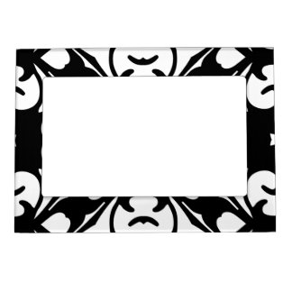 Elegant Black and White Damask Pattern Magnetic Picture Frame