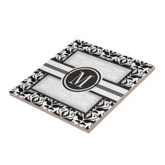 Elegant black and white damask pattern & monogram ceramic tile