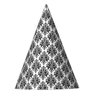 Elegant Black and White Damask Pattern Party Hat