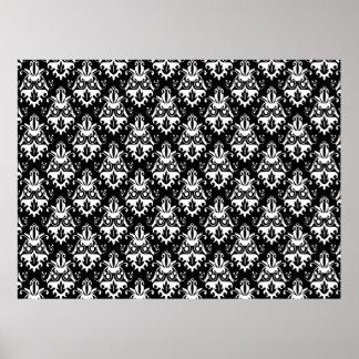 Elegant Black and White Damask Pattern Poster