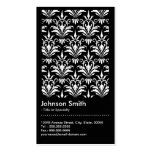 Elegant Black and White Damask Pattern QR Code Business Card