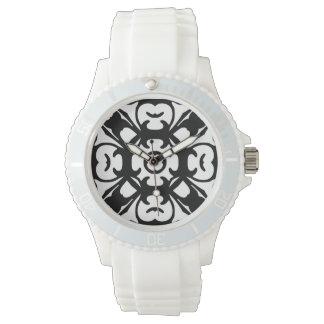 Elegant Black and White Damask Pattern Watch