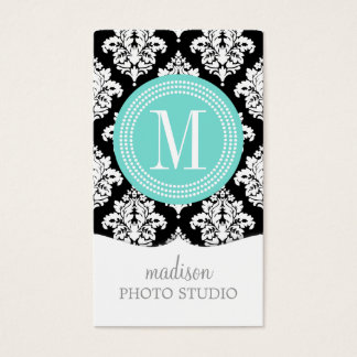 Elegant Black and White Damask Personalized Business Card