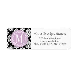 Elegant Black and White Damask Personalized Label