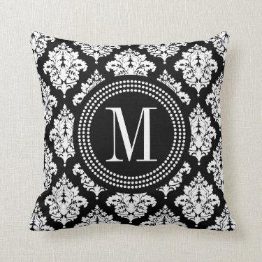Elegant Black and White Damask Personalized Pillows