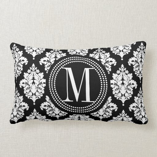 Damask Throw Pillows Black White : Elegant Black and White Damask Personalized Throw Pillow Zazzle
