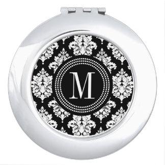 Elegant Black and White Damask Personalized Vanity Mirror