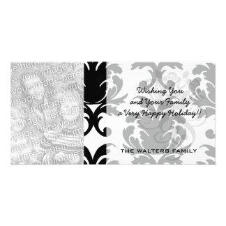 elegant black and white damask photo cards