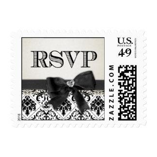 Elegant Black and White Damask RSVP Postage