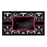 Elegant Black and White Damask Salon and Spa Double-Sided Standard Business Cards (Pack Of 100)