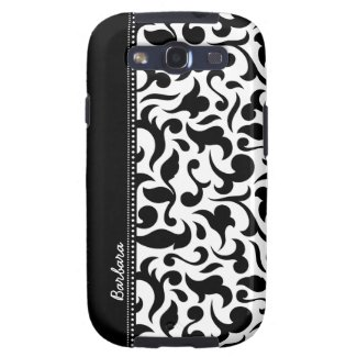 Elegant Black And White Damask Samsung Galaxy s3 Galaxy S3 Cases