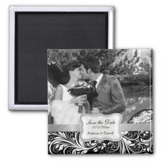 Elegant Black and White Damask Save the Date Magnets
