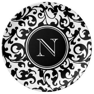 Elegant Black and White Damask Scroll Monogrammed Plate