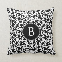 Elegant Black and White Damask Scroll Monogrammed Throw Pillow