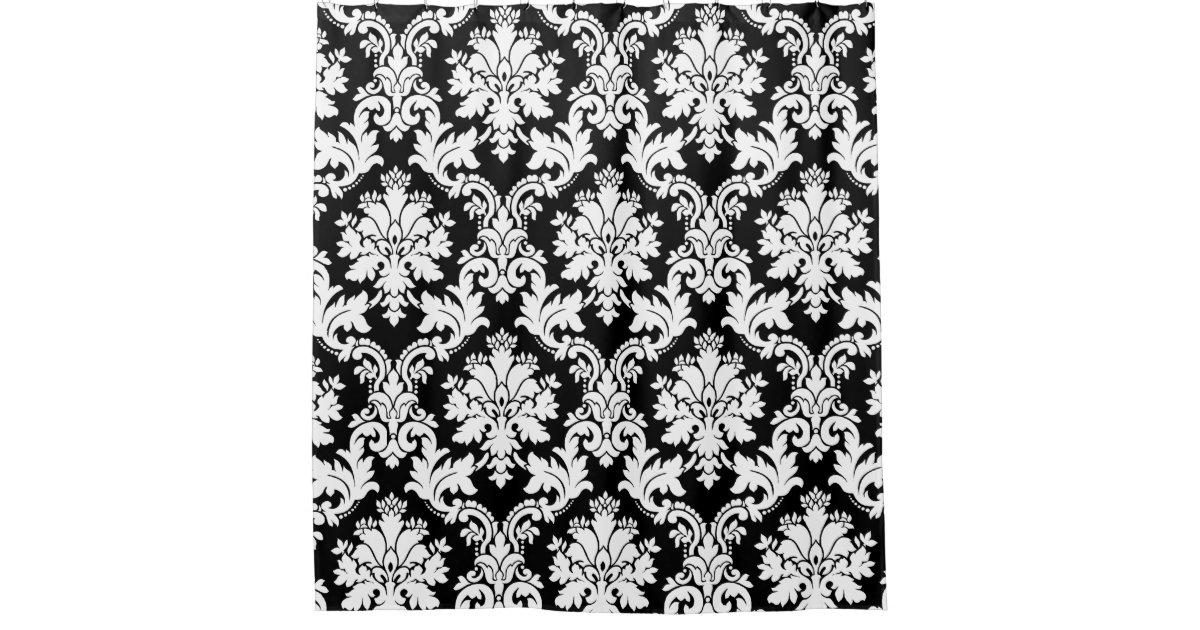 Elegant Black And White Damask Shower Curtain Zazzle