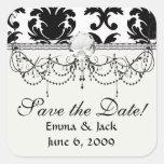 elegant black and white damask square stickers