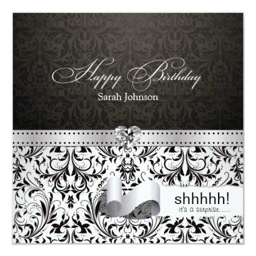Elegant Black and White Damask Surprise Birthday 5.25x5.25 Square Paper Invitation Card