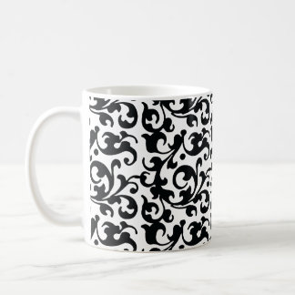 Elegant Black and White Damask Swirls Coffee Mug