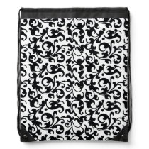 Elegant Black and White Damask Swirls Drawstring Backpack