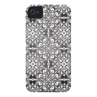Elegant Black and White Damask Swirls iPhone 4 Case-Mate Case