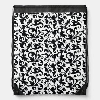 Elegant Black and White Damask Swirls Cinch Bags
