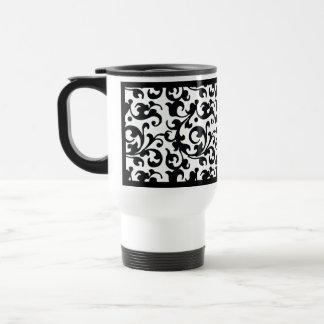 Elegant Black and White Damask Swirls Travel Mug