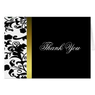 Elegant black and white Damask Thank You Card