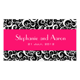 Elegant Black and White Damask Wedding Card Double-Sided Standard Business Cards (Pack Of 100)
