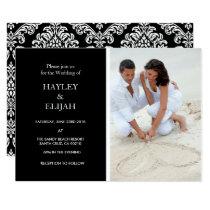 Elegant Black and White Damask Wedding Invitation