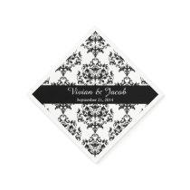Elegant Black and White Damask Wedding Napkin