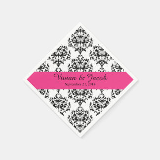 Elegant Black and White Damask Wedding Napkin
