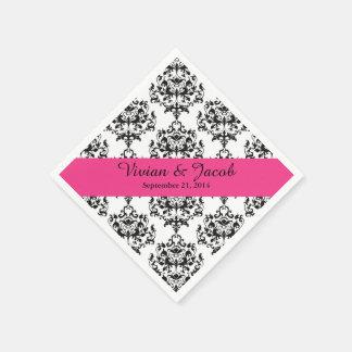 Elegant Black and White Damask Wedding Napkin Standard Cocktail Napkin