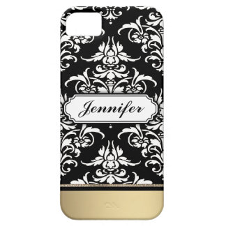 Elegant Black and White Damask with golden bottom iPhone SE/5/5s Case