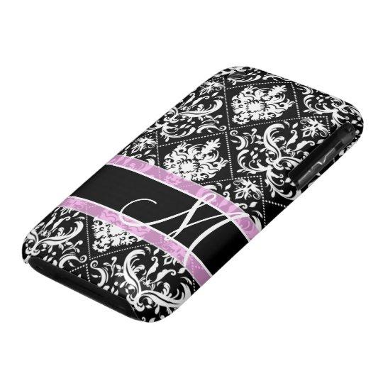 Elegant black and white damask with monogram iPhone 3 case