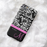 Elegant Black And White Damask With Pink Monogram Barely There Iphone 6 Case at Zazzle