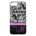 Elegant Black And White Damask With Pink Monogram Iphone 7 Case at Zazzle